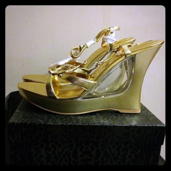 f758a709fa22e Gold Rhinestone High Heel Sandal